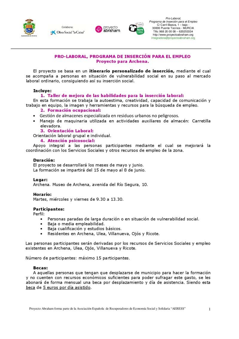 PROGRAMA DE INSERCIÓN PARA EL EMPLEO EN EL VALLE DE RICOTE