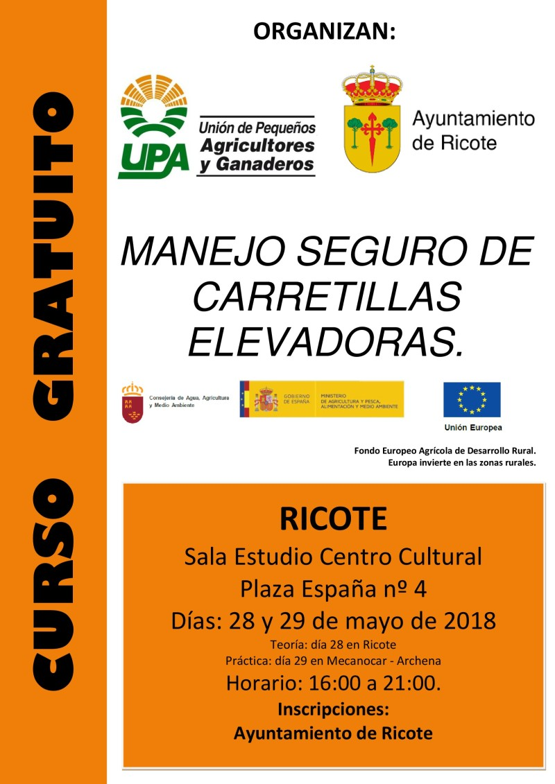 Cartel Curso Manejo Carretilla Elevadora Ricote 2018-001