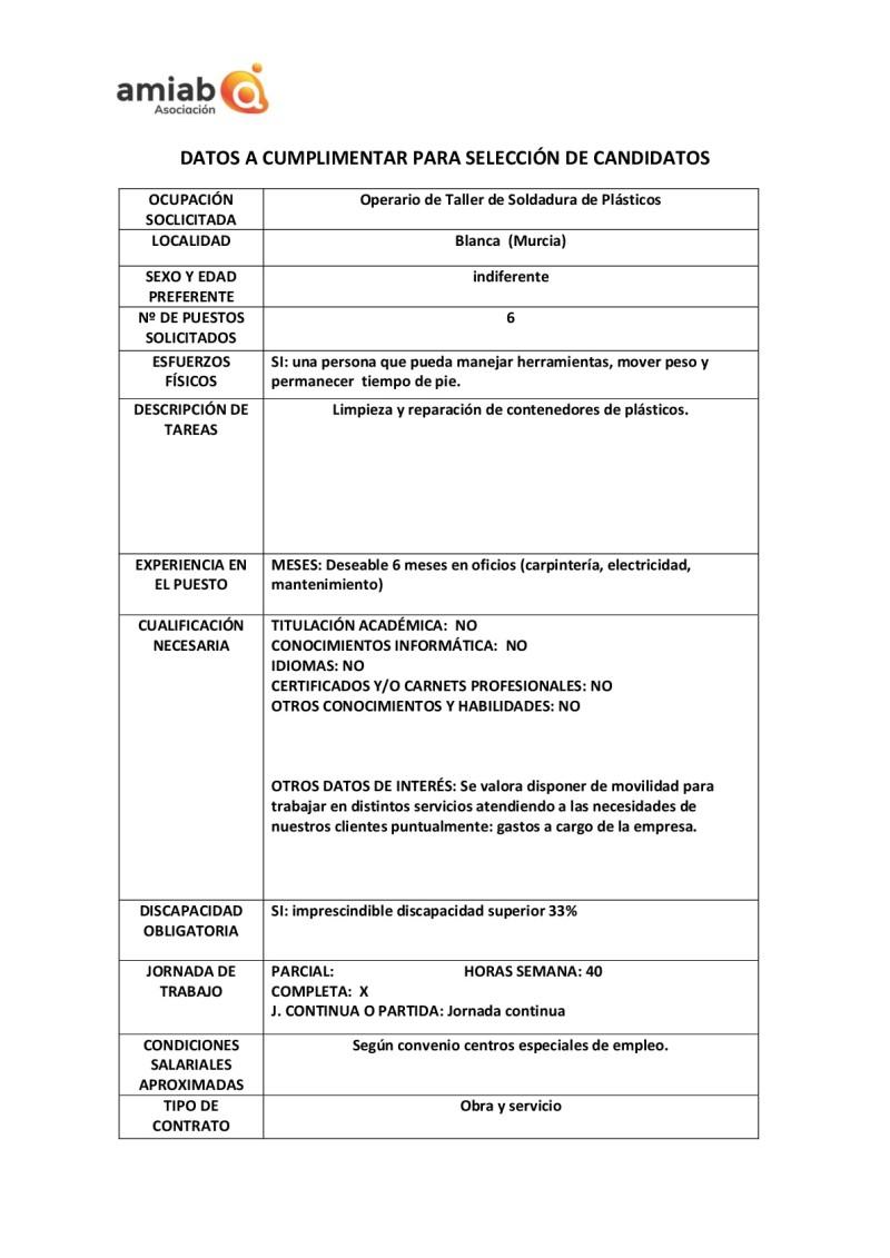 OFERTA DE EMPLEO EN BLANCA Y ALGUAZAS