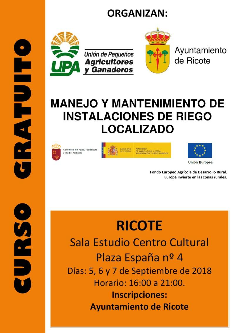 Cartel Curso INSTALACIONES RIEGO LOCALIZADO Ricote 2018-001
