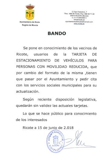 BANDO TARJETA DE ESTACIONAMIENTO