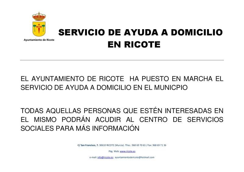 SERVICIO DE AYUDA A DOMICILIO EN RICOTE