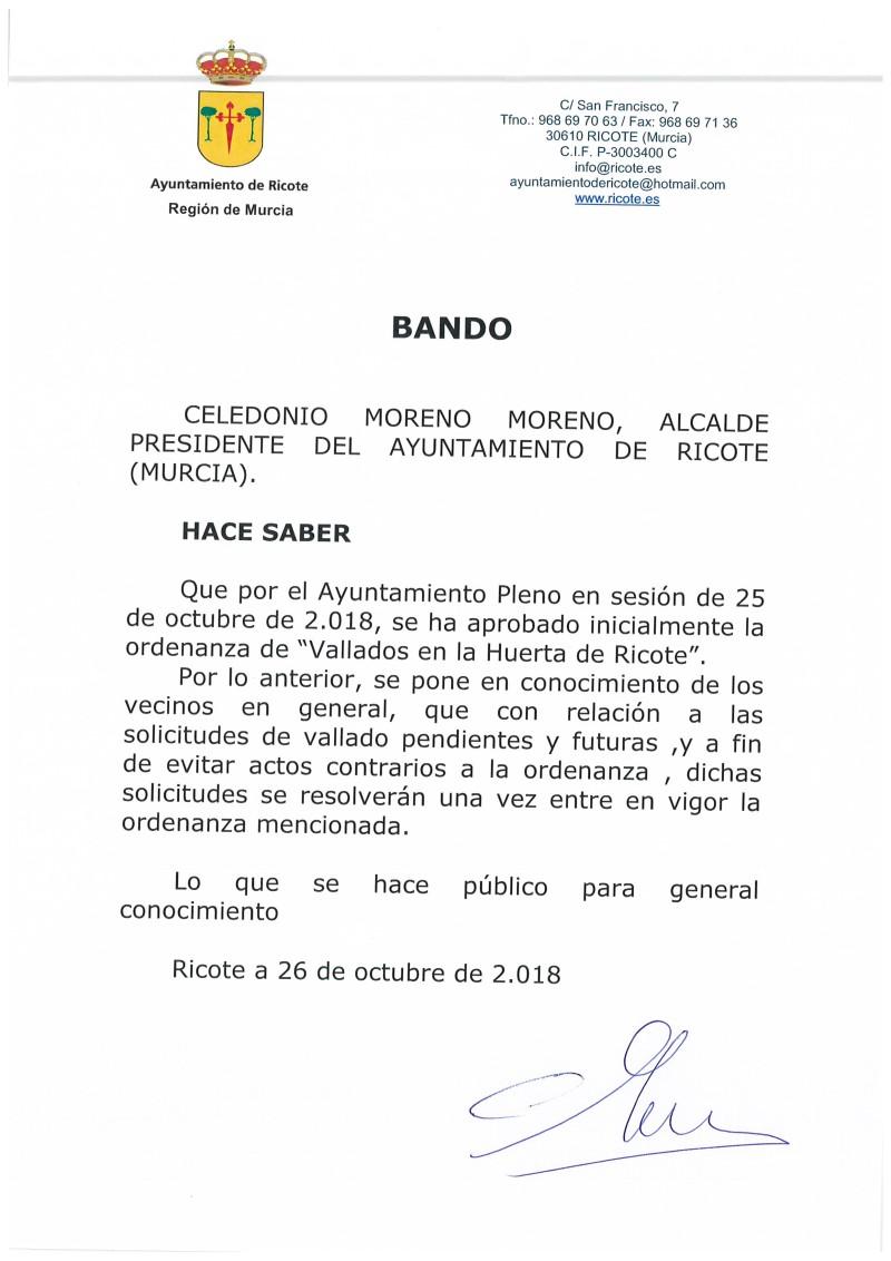 BANDO ORDENANZA DE VALLADOS EN LA HUERTA DE RICOTE