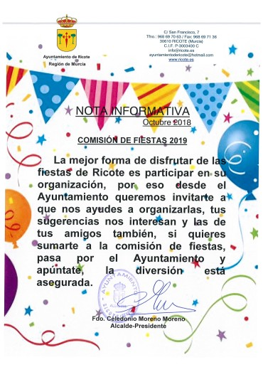 NOTA INFORMATIVA  CONSTITUCIÓN DE COMISIÓN DE FIESTAS 2019
