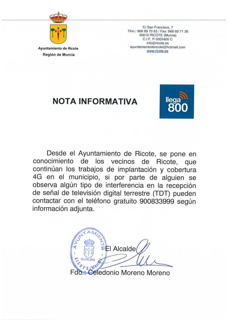NOTA INFORMATIVA LLEGA 800
