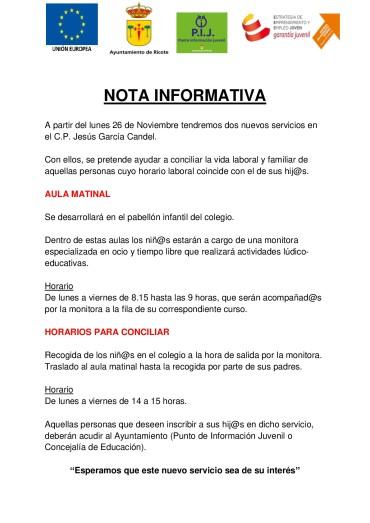 NUEVOS SERVICIOS DE CONCILIACIÓN EN EL COLEGIO