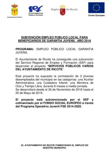 EMPLEO PÚBLICO LOCAL PARA BENEFICIARIOS DE GARANTÍA JUVENIL 2018