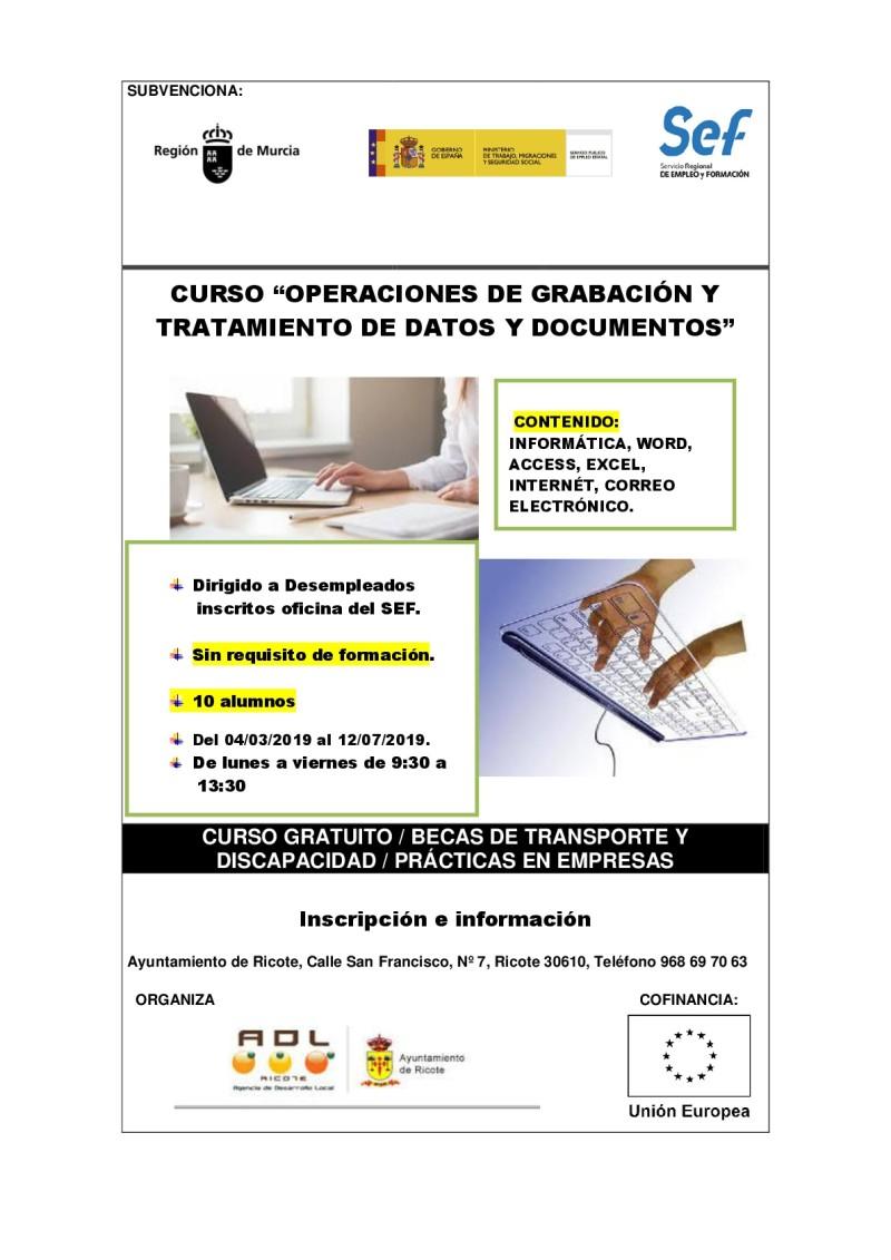 """CURSO """"OPERACIONES DE GRABACIÓN Y TRATAMIENTO DE DATOS Y DOCUMENTOS"""""""
