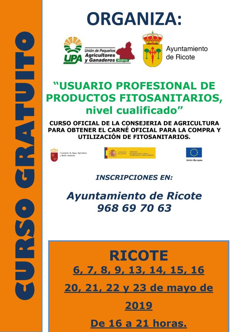 """CURSO """"USUARIO PROFESIONAL DE PRODUCTOS FITOSANITARIOS, NIVEL CUALIFICADO"""""""