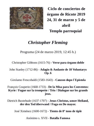 Primer concierto del ciclo de órgano histórico de Ricote