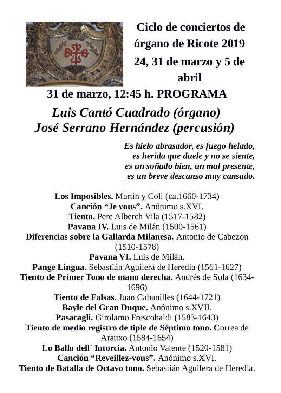 Ciclo de conciertos de órgano. Programa del próximo domingo