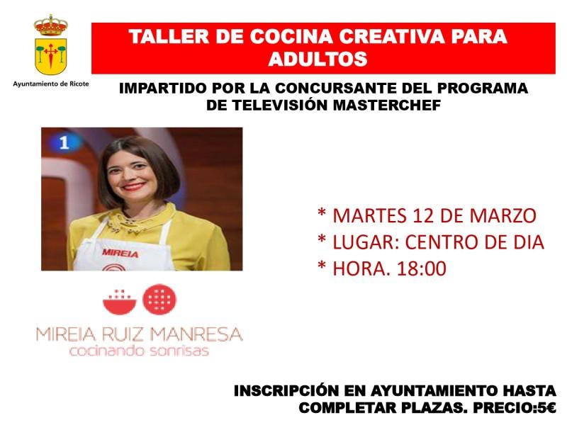 TALLER DE COCINA CREATIVA PARA ADULTOS