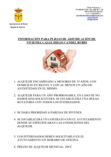 ALQUILER DE VIVIENDA PARA JÓVENES DE RICOTE