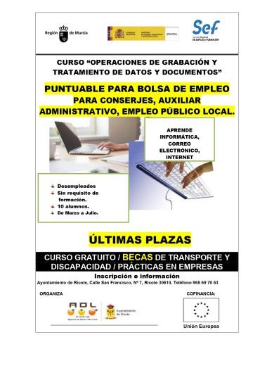 """ÚLTIMAS PLAZAS CURSO """"OPERACIONES DE GRABACIÓN Y TRATAMIENTO DE DATOS Y DOCUMENTOS"""""""