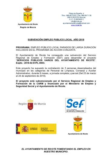 INICIO DEL PROGRAMA EMPLEO PÚBLICO LOCAL