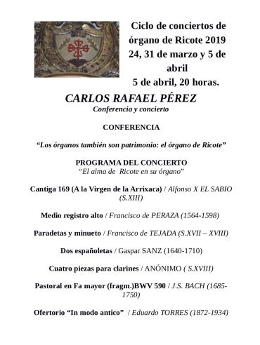 Programa del concierto del próximo viernes