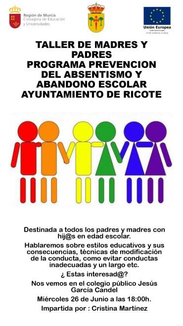 TALLER PARA MADRES Y PADRES DE ALUMNOS DE PRIMARIA Y SECUNDARIA
