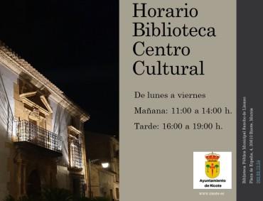 CAMBIO PROVISIONAL DEL HORARIO DE LA BIBLIOTECA