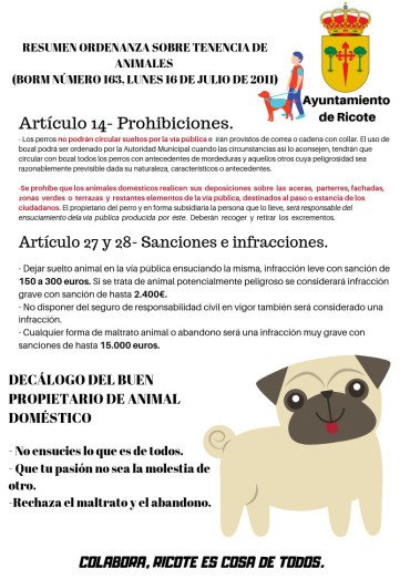 ORDENANZA SOBRE TENENCIA DE ANIMALES, publicada en el BORM Número 163 Lunes, 18 de julio de 2011