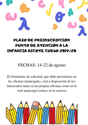 ABIERTO PLAZO DE PRE-INSCRIPCIÓN DEL SERVICIO DE GUARDERÍA PARA EL CURSO 2019-2020