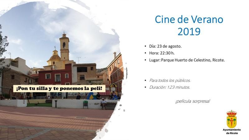 CINE DE VERANO, VIERNES DÍA 23 DE AGOSTO EN EL PARQUE DEL HUERTO DE CELESTINO