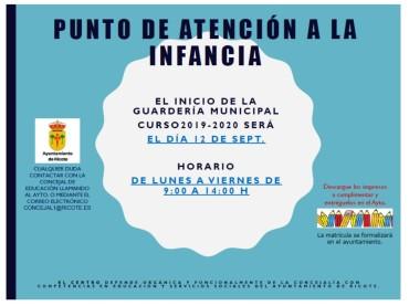 INICIO PUNTO DE ATENCIÓN A LA INFANCIA – GUARDERÍA RICOTE