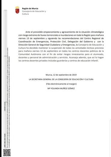 COMUNICADO – SE CANCELAN LAS CLASES ESCOLARES Y DE LA GUARDERÍA MUNICIPAL MAÑANA DÍA 13/09/19