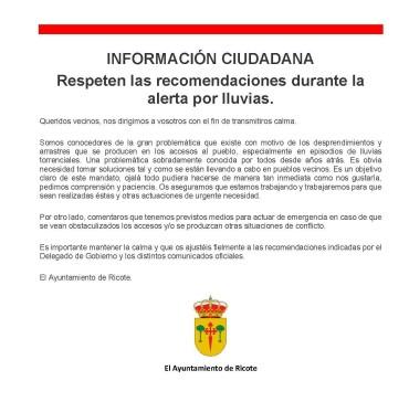 INFORMACIÓN CIUDADANA: APLIQUEN LAS RECOMENDACIONES DURANTE LA ALERTA POR LLUVIAS