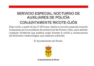 SERVICIO ESPECIAL NOCTURNO DEL CUERPO DE AUXILIARES DE POLICÍA DE RICOTE Y OJÓS