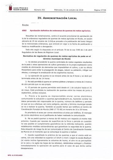 INICIO DEL PERIODO DE QUEMA DE RESTOS AGRÍCOLAS