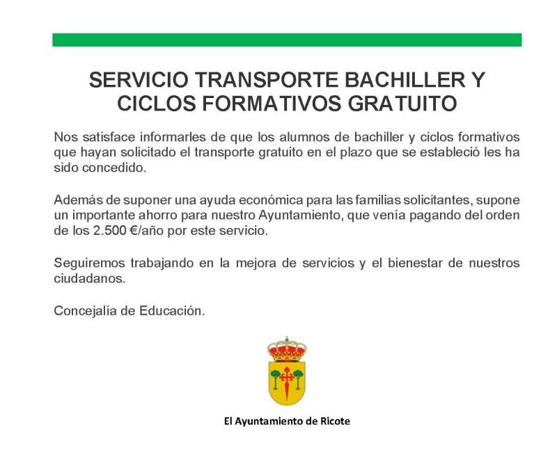 MEJORA IMPORTANTE – BUS BACHILLER Y CICLOS FORMATIVOS GRATUITO
