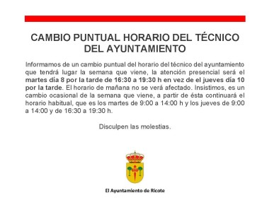 CAMBIO PUNTUAL DEL HORARIO DEL TÉCNICO DEL AYUNTAMIENTO