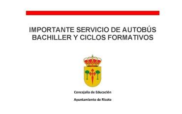 IMPORTANTE – SOLICITUD BUS BACHILLER Y CICLOS FORMATIVOS