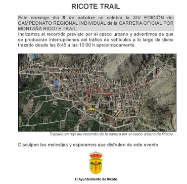 RICOTE TRAIL –  DOMINGO 06/10/19