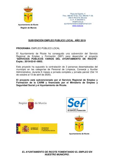 INICIO DEL PROGRAMA DE EMPLEO PÚBLICO LOCAL