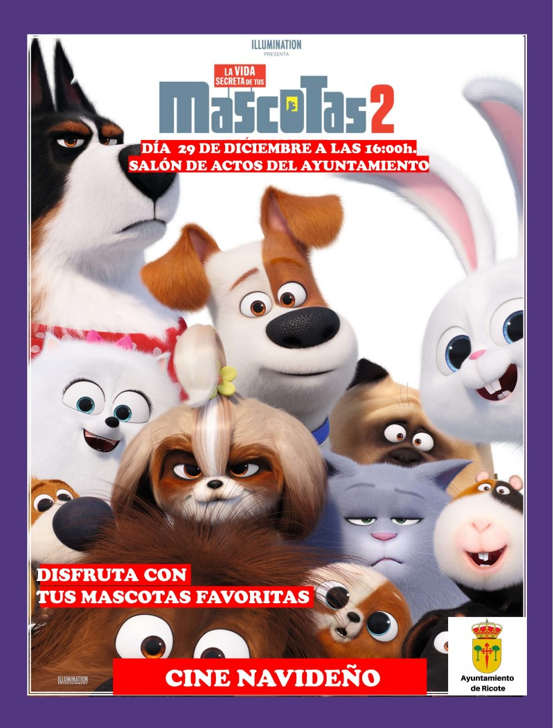 "SESIÓN DE CINE ""MASCOTAS 2″ – DOMINGO 29/12/19"