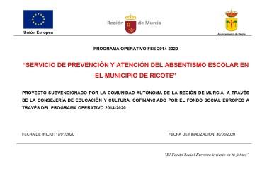 SERVICIO DE PREVENCIÓN DE ABSENTISMO ESCOLAR RICOTE 2020