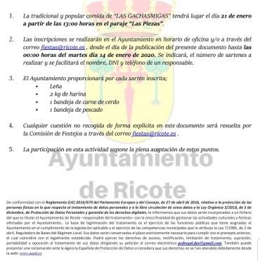 BASES GACHASMIGAS FIESTAS DE RICOTE 2020