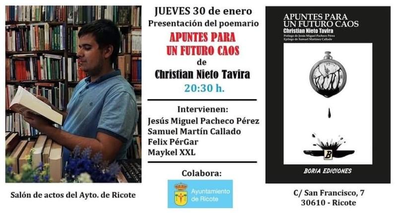 """PRESENTACIÓN DEL POEMARIO """"APUNTES PARA UN FUTURO CAOS"""" DE CHRISTIAN NIETO TAVIRA"""