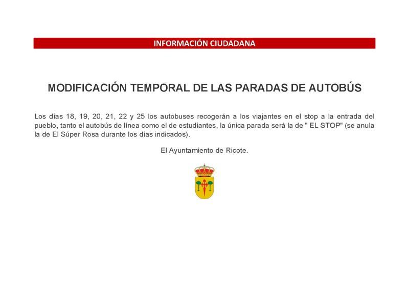 INFO.: MODIFICACIONES EN LAS PARADAS DE AUTOBÚS DURANTE DE LAS FIESTAS