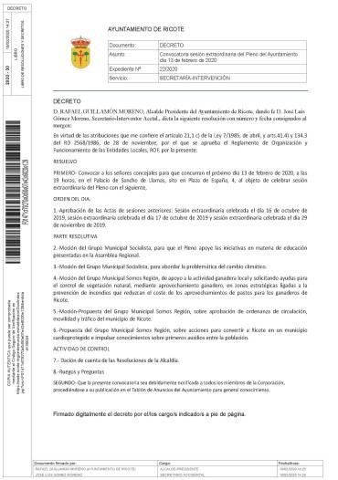SESIÓN PLENARIA EXTRAORDINARIA A CELEBRAR EL DÍA 13/02/20