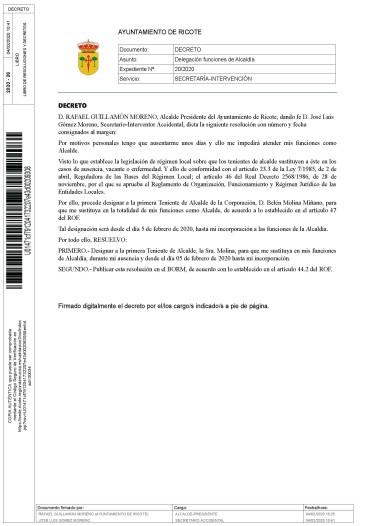 INFO. CIUDADANO: DECRETO DE ALCALDÍA