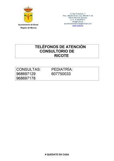 TELÉFONOS CONSULTORIO MÉDICO