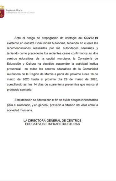 COMUNICADO EDUCACIÓN