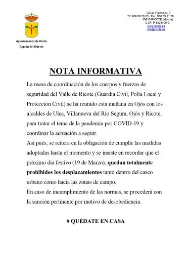 NOTA INFORMATIVA: COORDINACIÓN CUERPOS DE SEGURIDAD VALLE DE RICOTE