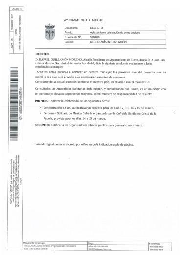 APLAZAMIENTO CELEBRACION DE ACTOS PÚBLICOS