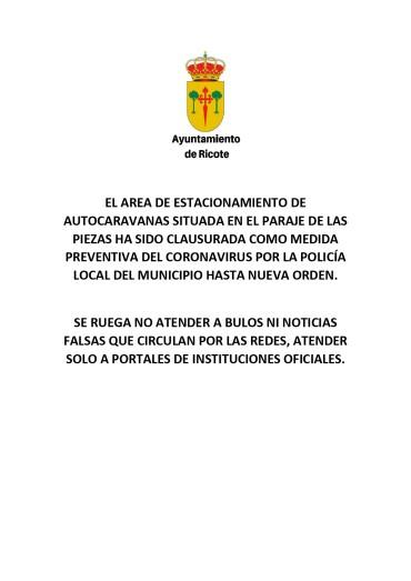 AREA DE AUTOCARAVANAS DE RICOTE