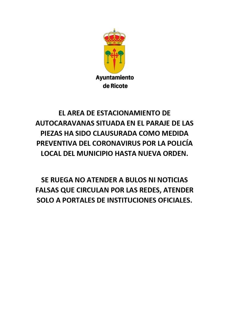 EL AREA DE ESTACIONAMIENTO DE AUTOCARAVANAS SITUADA EN EL PARAJE DE LAS PIEZAS HA SIDO CLAUSURADA COMO MEDIDA PREVENTIVA DEL CORONAVIRUS POR LA POLICÍA LOCAL DEL MUNICIPIO HASTA NUEVA ORDEN_page-0001
