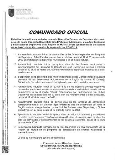 COMUNICADO OFICIAL DE LA DIRECCIÓN GENERAL DE DEPORTES