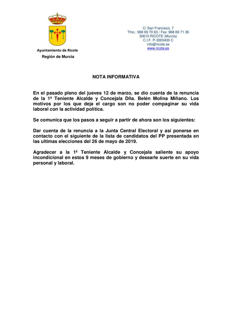 Nota informativa renuncia 1ª Teniente Alcalde-Concejala